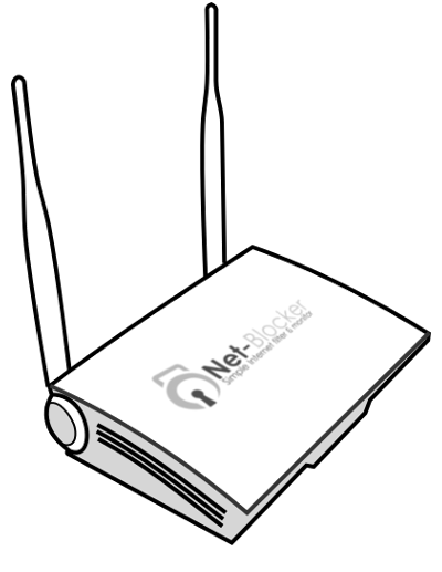 net blocker linedrawn image with net blocker logo