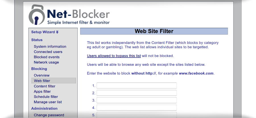 net blocker web filter interface